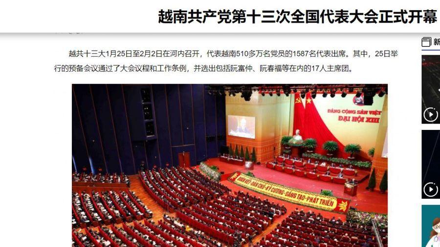 Báo chí Trung Quốc đưa tin rộng rãi về Lễ khai mạc Đại hội XIII của Đảng