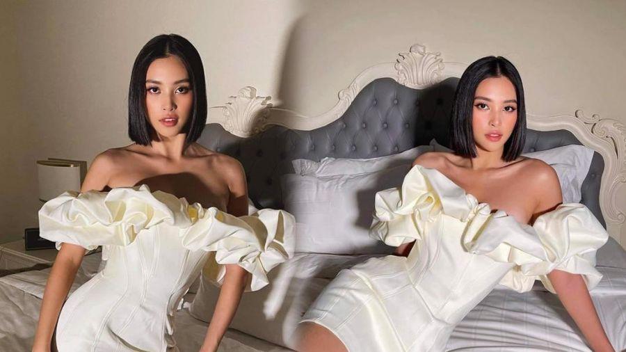 Say lòng ngắm Hoa hậu Tiểu Vy diện váy trắng xinh như đóa hoa cẩm tú