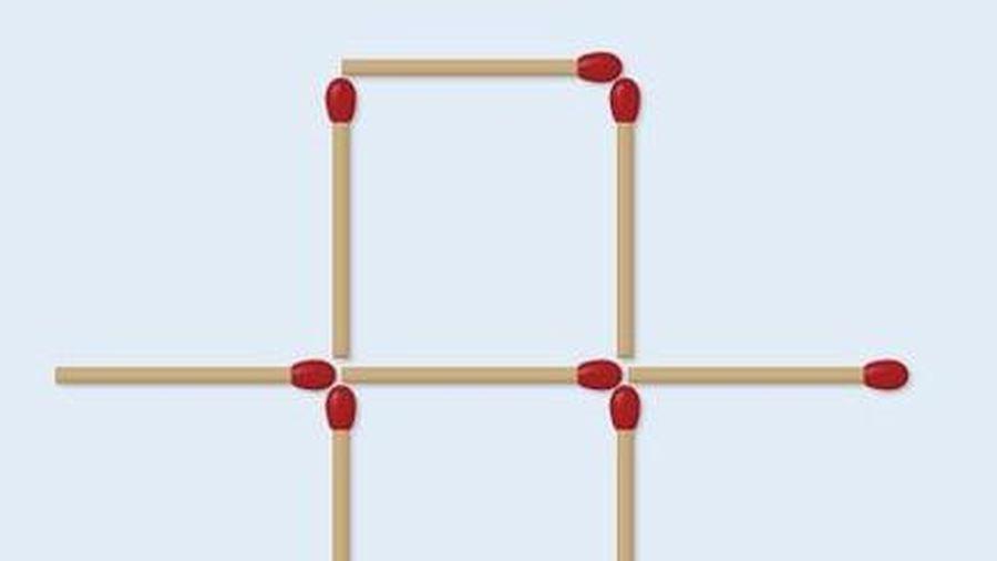 Di chuyển 2 que diêm để tạo thành 2 hình vuông