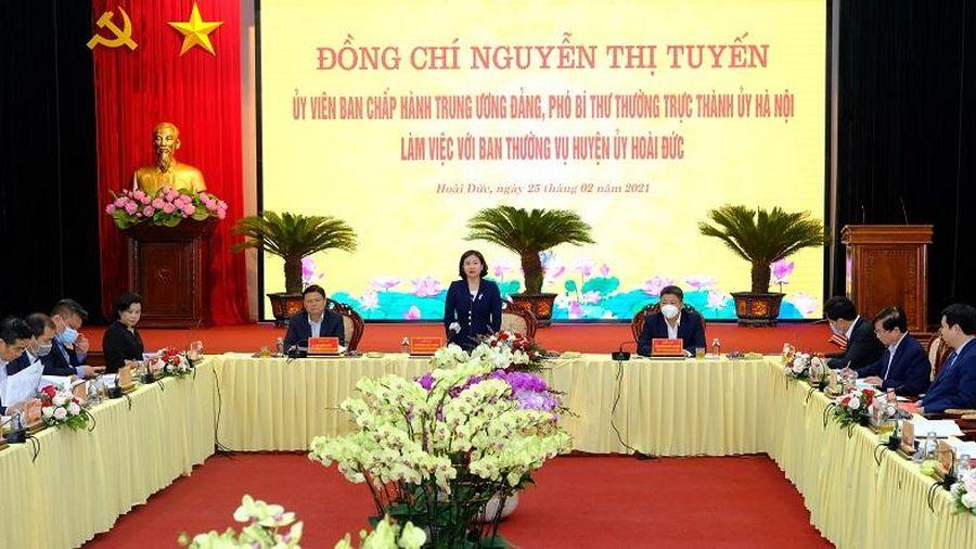 Phó Bí thư Thường trực Thành ủy Nguyễn Thị Tuyến: Tập trung phát triển huyện Hoài Đức thành quận