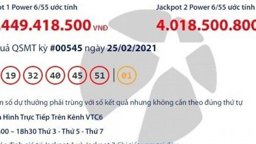 Kết quả xổ số Vietlott 25/2: Ai là chủ nhân giải khủng hơn 76 tỷ đồng?