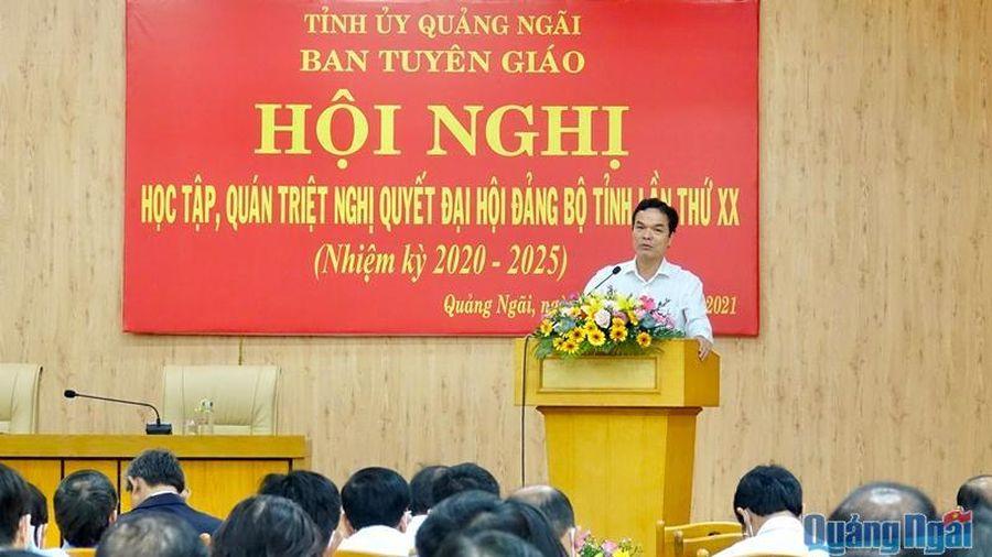 Hội nghị học tập, quán triệt Nghị quyết Đại hội Đảng bộ tỉnh lần thứ XX
