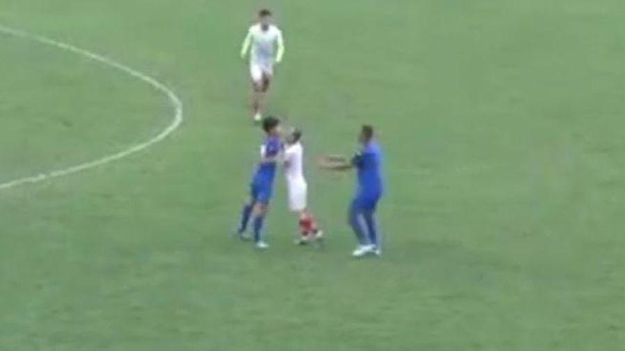 Cầu thủ Nam Định, Phú Thọ đá thô bạo, đánh nhau giữa trận đấu tập