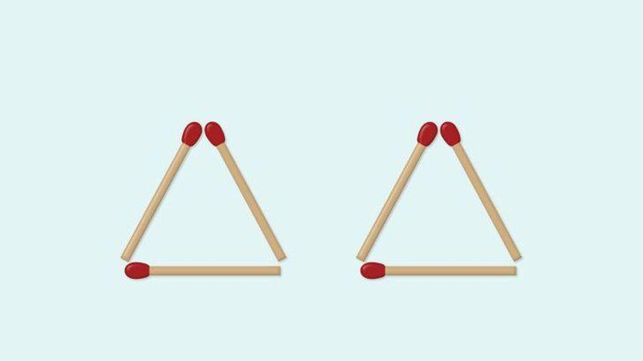 Di chuyển 1 que diêm để tạo thành 4 tam giác