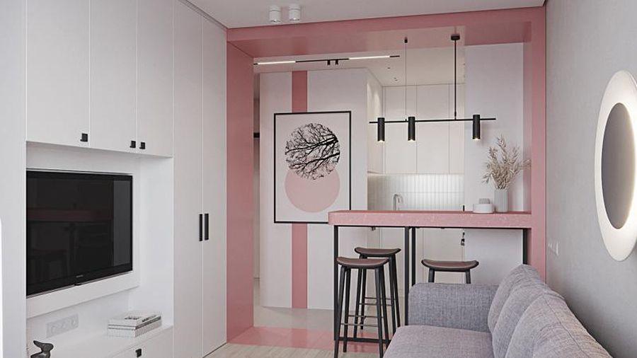 Căn hộ 10m² màu hồng nhỏ xinh vừa ấm áp vừa ngọt ngào dành cho cô nàng độc thân