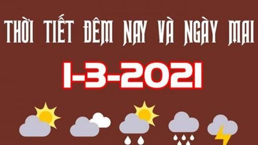 Dự báo thời tiết đêm nay và ngày mai 1/3/2021