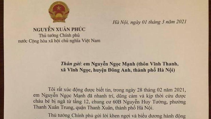 Thủ tướng có Thư khen, biểu dương anh Nguyễn Ngọc Mạnh dũng cảm cứu bé rơi từ tầng 12