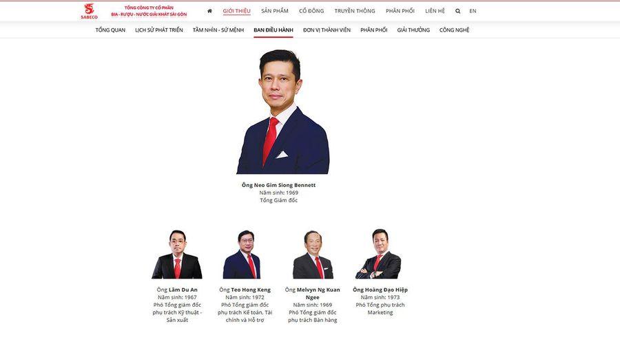 Một Phó tổng giám đốc người Việt nghỉ việc tại Sabeco