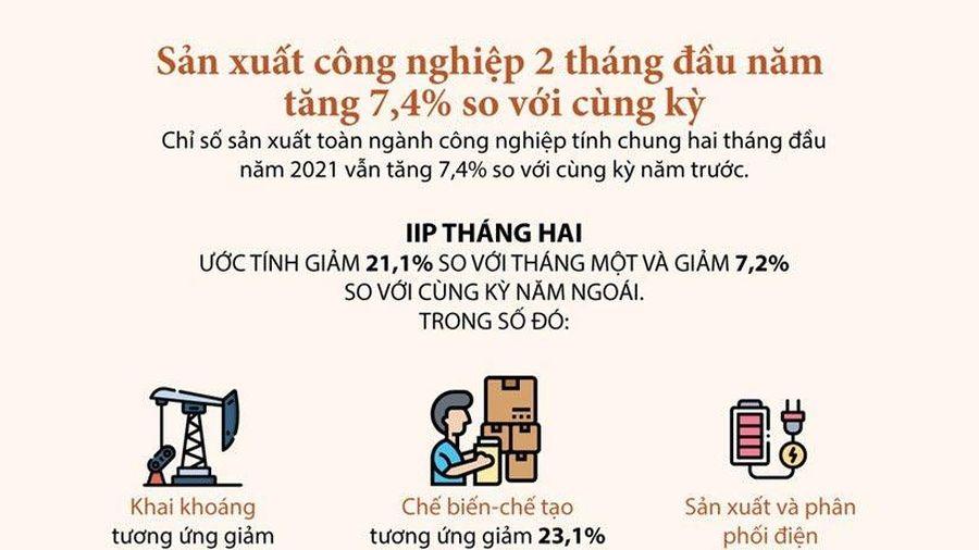 Infographics: Hoạt động sản xuất công nghiệp giảm trong tháng 2