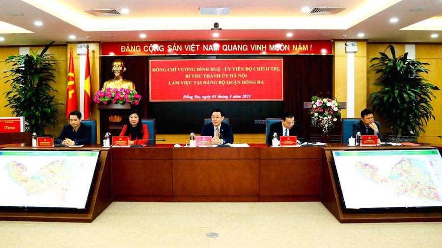 Bí thư Thành ủy Hà Nội Vương Đình Huệ làm việc với Quận ủy Đống Đa