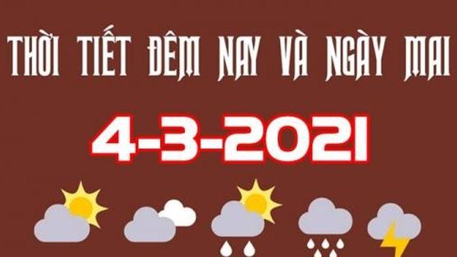 Dự báo thời tiết đêm nay và ngày mai 4/3/2021