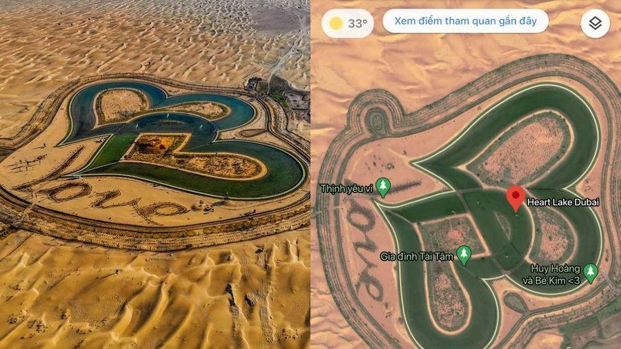 Dân mạng Việt Nam 'làm loạn' Google Maps, tạo hàng loạt địa điểm ảo ở hồ Love Lake Dubai