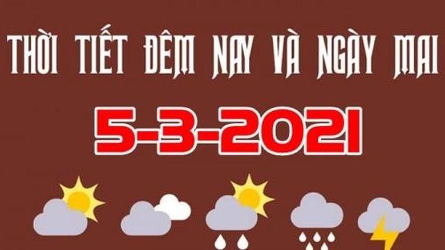 Dự báo thời tiết đêm nay và ngày mai 5/3/2021