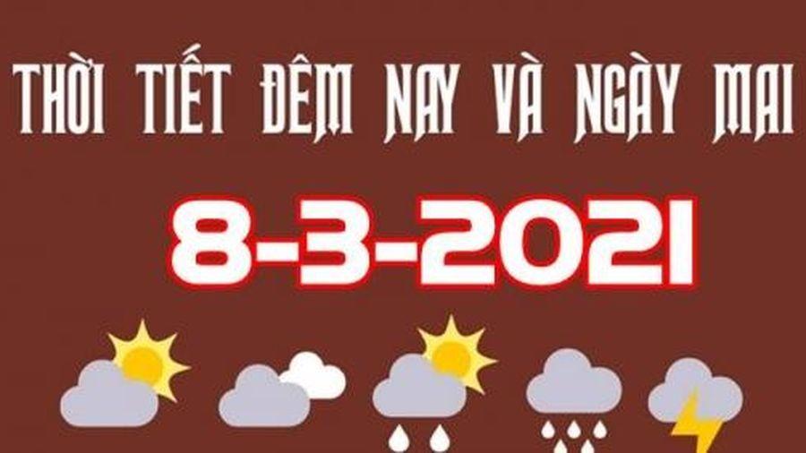 Dự báo thời tiết đêm nay và ngày mai 8/3/2021