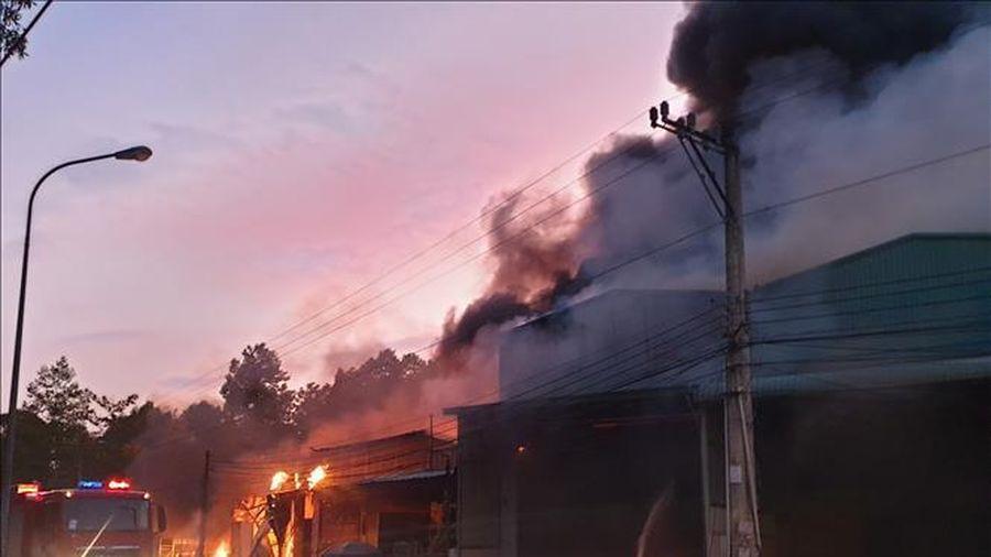 Cháy lớn thiêu rụi 5 ki-ốt và 1 nhà dân tại Bình Dương