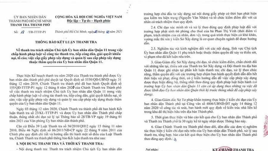 Đề nghị xử lý dứt điểm 9/20 công trình không phép, 5/9 công trình sai phép ở UBND Quận 11