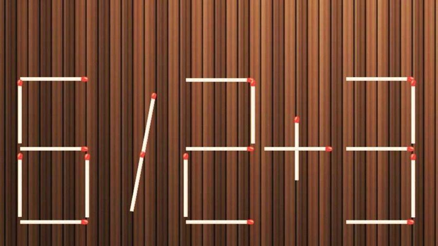 Di chuyển một que diêm biến phép tính 6 / 2 + 3 = 5 thành đúng