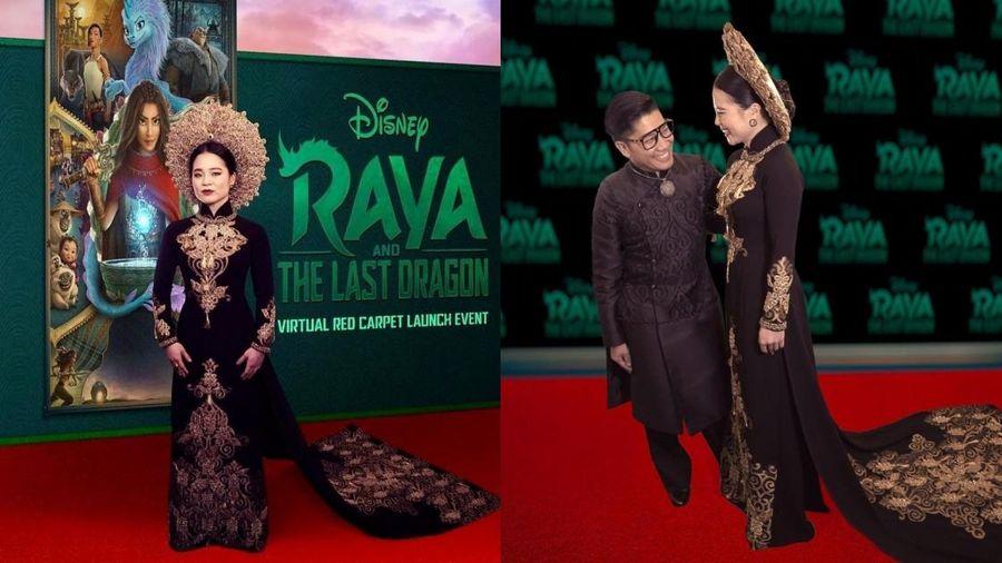 'Công chúa Raya' Kelly Marie Tran lộng lẫy trên thảm đỏ trực tuyến trong thiết kế áo dài từ NTK Thái Nguyễn