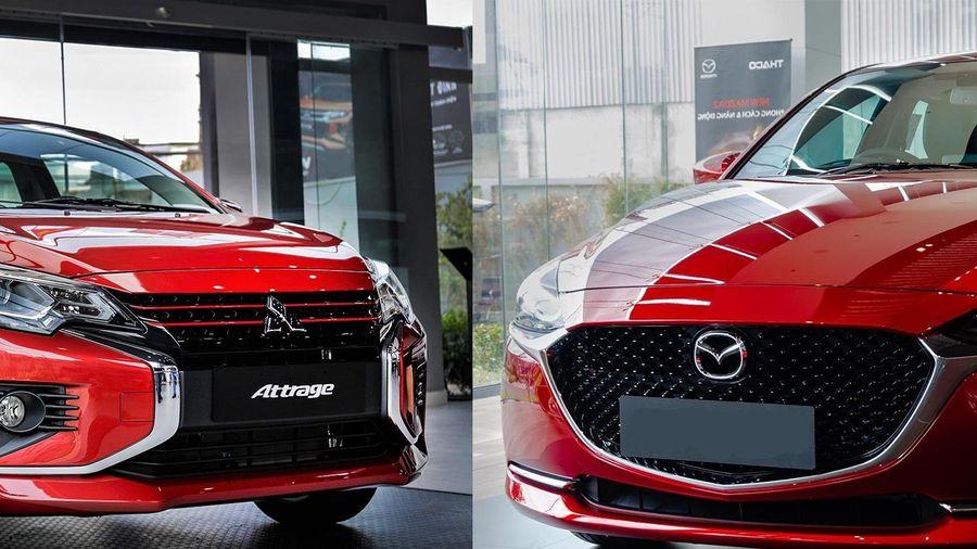 Sedan dưới 500 triệu chọn Mitsubishi Attrage Premium hay Mazda2 1.5L?