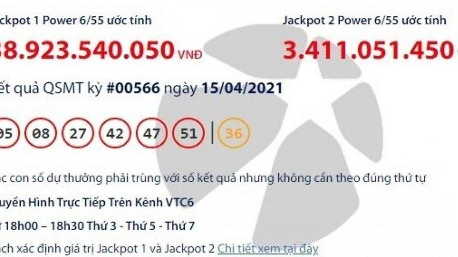 Kết quả xổ số Vietlott 15/4: Tìm người trúng thưởng gần 39 tỷ