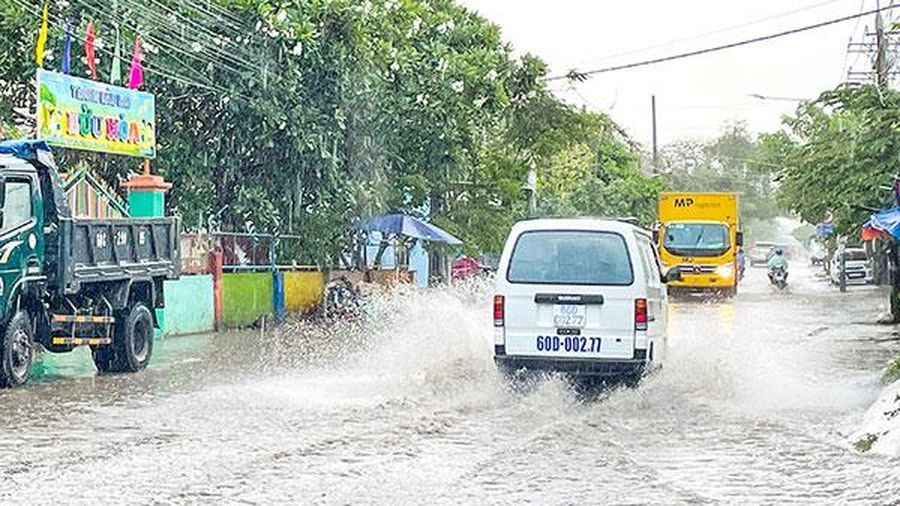 Ngập nước trước cổng Trường mầm non Bửu Hòa