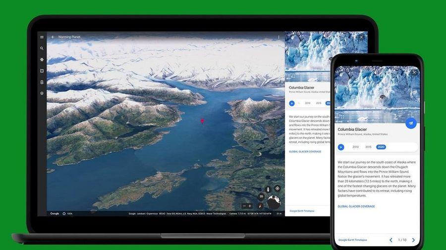 Tác động của biến đổi khí hậu được hiển thị qua Google Earth