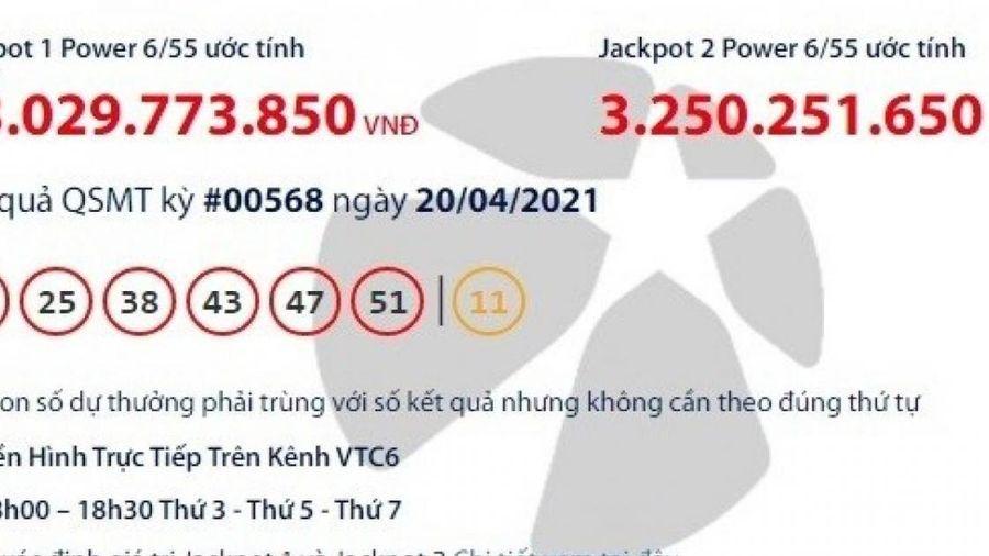 Kết quả xổ số Vietlott 20/4: Tìm người trúng giải khủng 43 tỷ