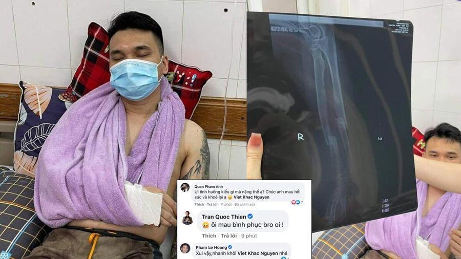 Khắc Việt gãy cổ tay phải hủy hàng loạt show diễn, nhiều nghệ sĩ gửi lời động viên