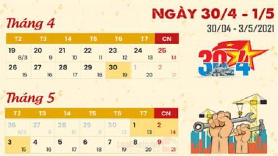 Lịch nghỉ lễ 30/4 và 1/5 năm 2021 của người lao động