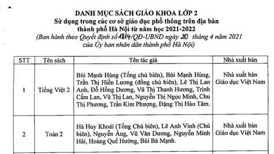 Hà Nội công bố danh mục SGK lớp 2, lớp 6 sử dụng từ năm học 2021-2022
