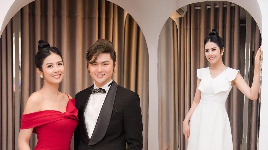 Hoa hậu Ngọc Hân thay 3 váy, điệu đà e ấp bên siêu mẫu nam điển trai