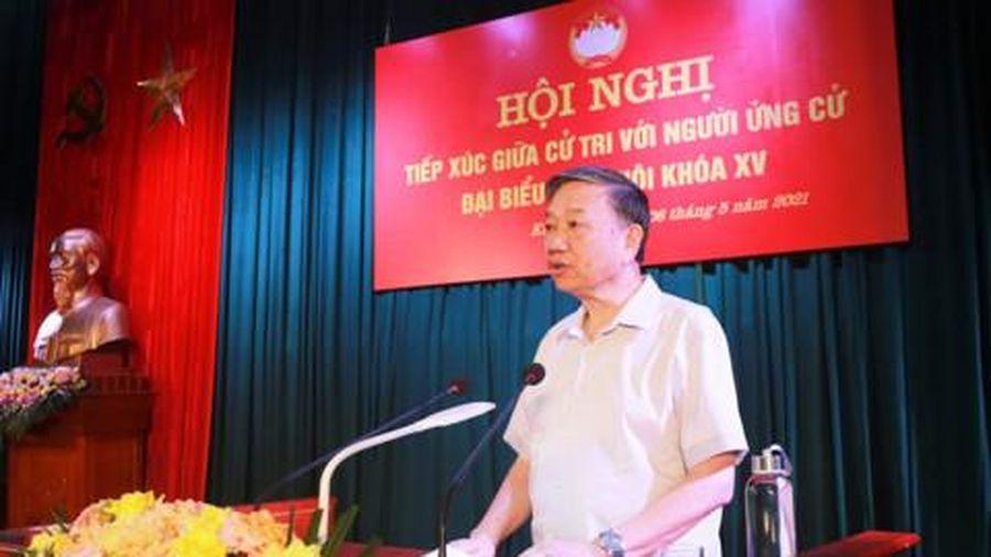 Bộ trưởng Tô Lâm tiếp xúc cử tri, vận động bầu cử tại huyện Kim Động, Hưng Yên