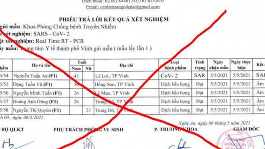 Nhà chức trách Nghệ An vào cuộc vụ làm giả phiếu xét nghiệm ca dương tính