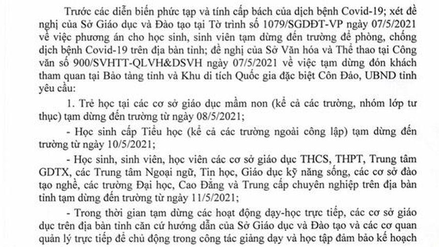 Bà Rịa-Vũng Tàu cho học sinh nghỉ học sớm