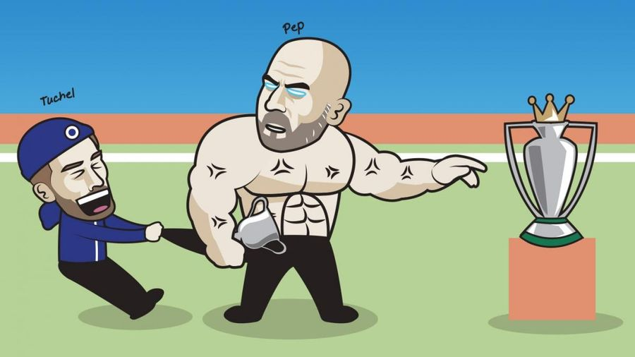 Biếm họa 24h: HLV Tuchel 'trì hoãn' ngày nâng cúp Ngoại hạng Anh của HLV Guardiola