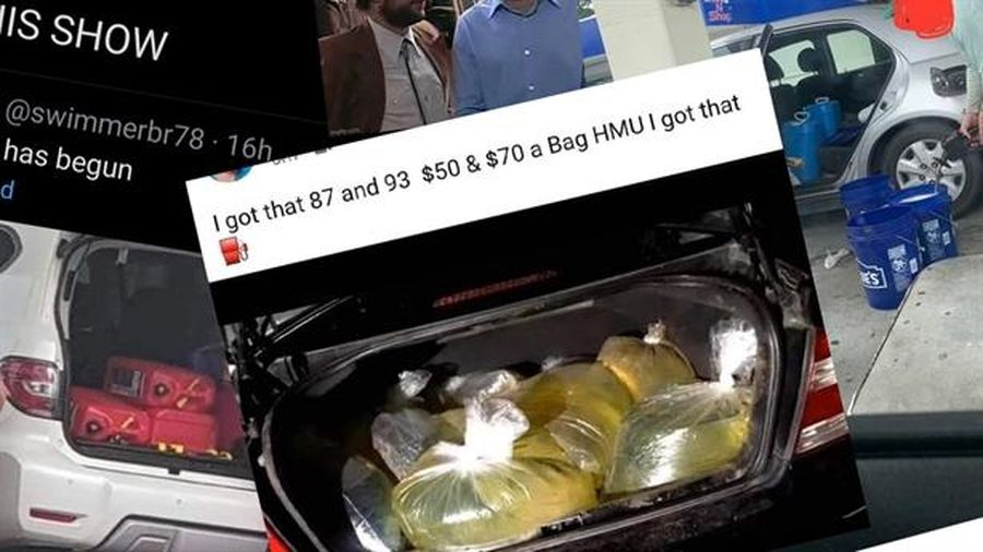 Mỹ: Tích trữ xăng bằng túi nilon đầy cốp xe