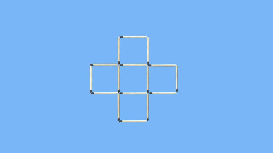 Di chuyển 8 que diêm để tạo thành 2 hình vuông