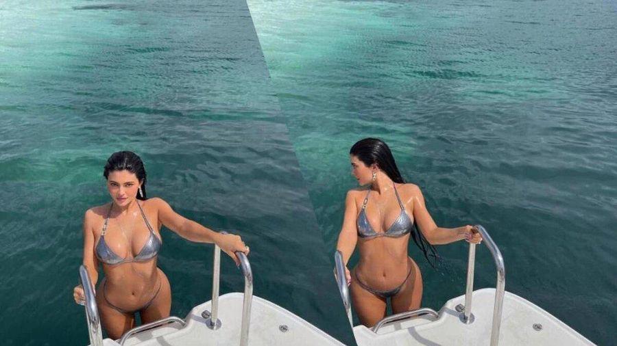 Kylie Jenner ngoi lên từ mặt nước, diện bikini óng ánh tuyệt đẹp khoe vòng 1 'nức nở'