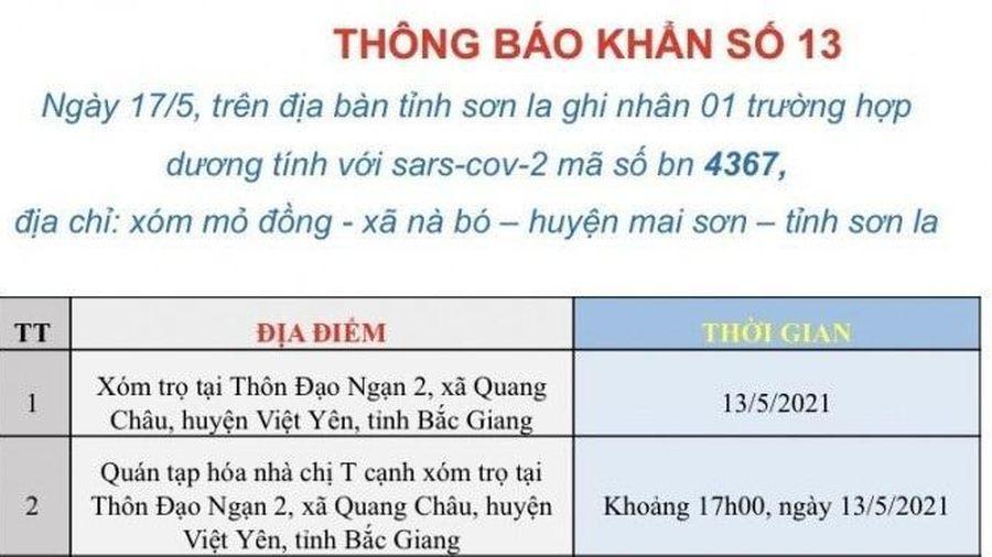 Sơn La tìm người đi cùng xe với trường hợp dương tính SARS-CoV-2