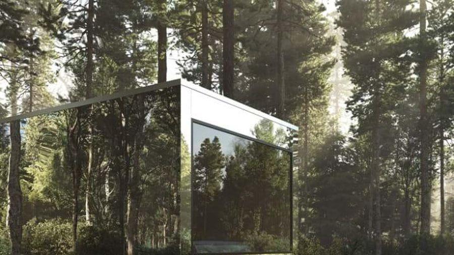 Các ngôi nhà cabin phản chiếu hòa vào cảnh quan khu rừng ở Canada