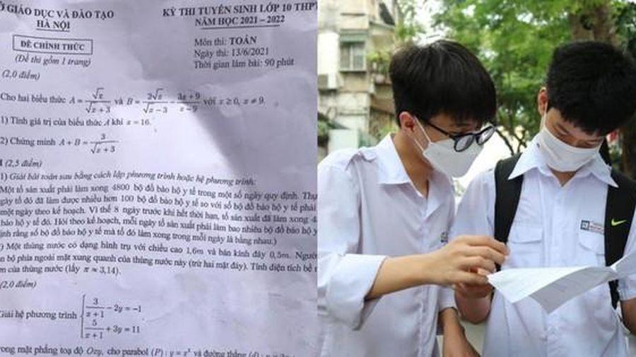Đề thi chính thức vào lớp 10 môn Toán ở Hà Nội được rút gọn phù hợp với thời lượng 90 phút