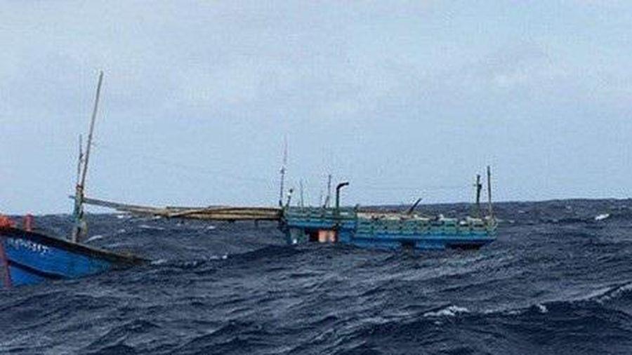 1 tàu cá bị sóng đánh chìm khi đang di chuyển tránh bão