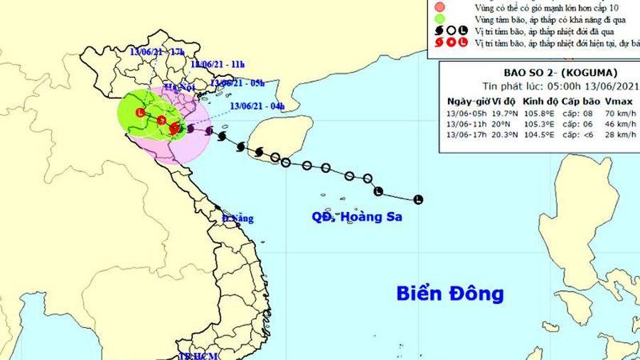 Bão số 2 suy yếu thành áp thấp nhiệt đới trong 6 giờ tới