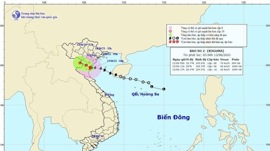 Tin mới nhất về cơn bão số 2 ngày 13/6: Gió giật cấp 10, ảnh hưởng từ Thái Bình đến Bắc Nghệ An