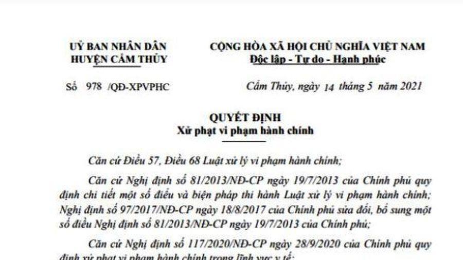 Huyện Cẩm Thủy xử phạt 30 triệu đồng đối với các trường hợp trốn cách ly y tế