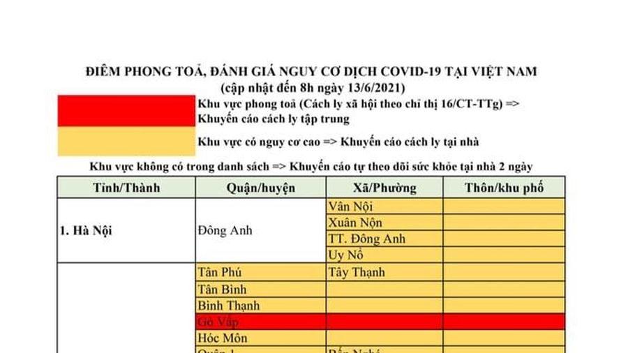 Cập nhật các điểm dịch đến ngày 13-6-2021 dành cho công dân có kế hoạch đến Thanh Hóa