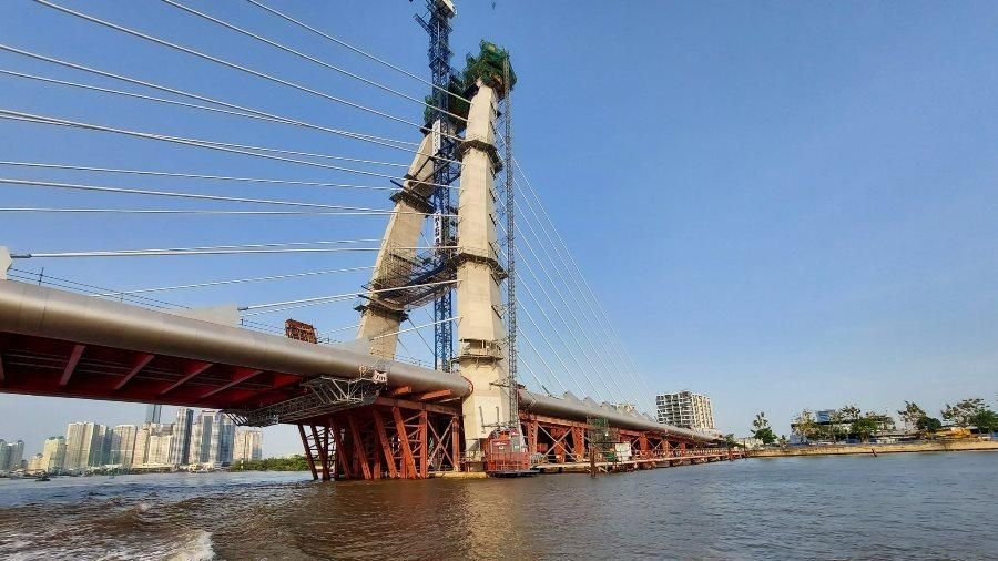 Cầu Thủ Thiêm 2 thi công trở lại, dự kiến 30-4-2022 thông xe