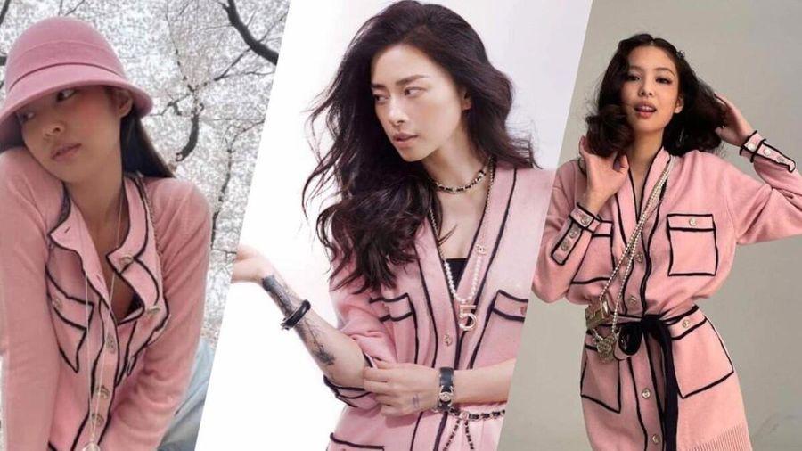 Ngô Thanh Vân chả hề lép vế khi mặc áo cardigan đụng hàng Jennie Black Pink