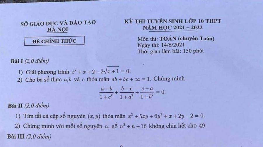 Đề thi Toán vào lớp 10 THPT chuyên của Hà Nội