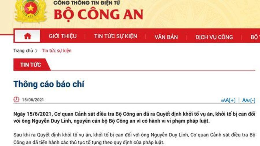 Ông Nguyễn Duy Linh, nguyên cán bộ Bộ Công an bị khởi tố